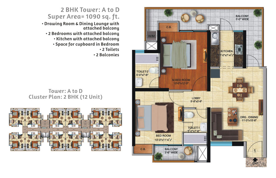 Ace City Floor Plan 1090 SQ.FT.