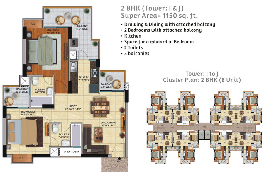 Ace City Floor Plan 1150 SQ.FT.